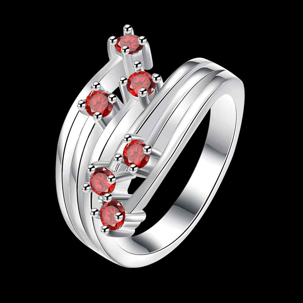เงินสีแฟชั่นเครื่องประดับจี้แฟชั่นแหวนดอกไม้สีแดง Zircon ทับทิมแหวนคริสตัล
