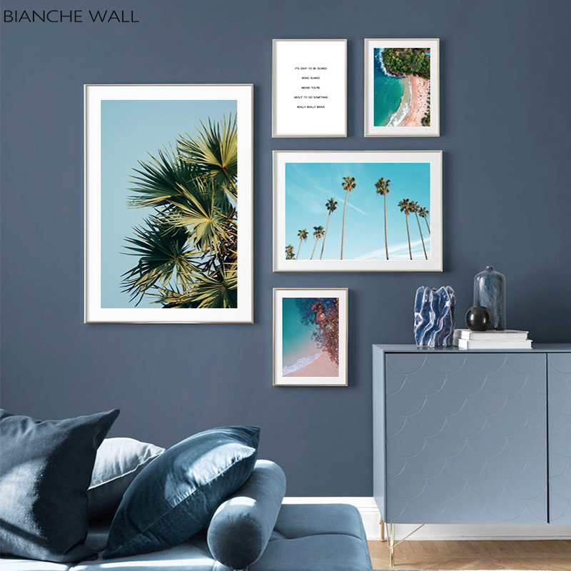 İskandinav posteri okyanus kıyı plaj palmiye TreeWall sanat tuval baskı manzara resim Nordic dekorasyon resim ev dekor
