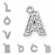 10pcs Charms Crystal 26 A-Z Letter Initial Alphabet DIY Jewelry Findings Rhodium Plated 26 A-Z Letter Initial Alphabet Charms(China)