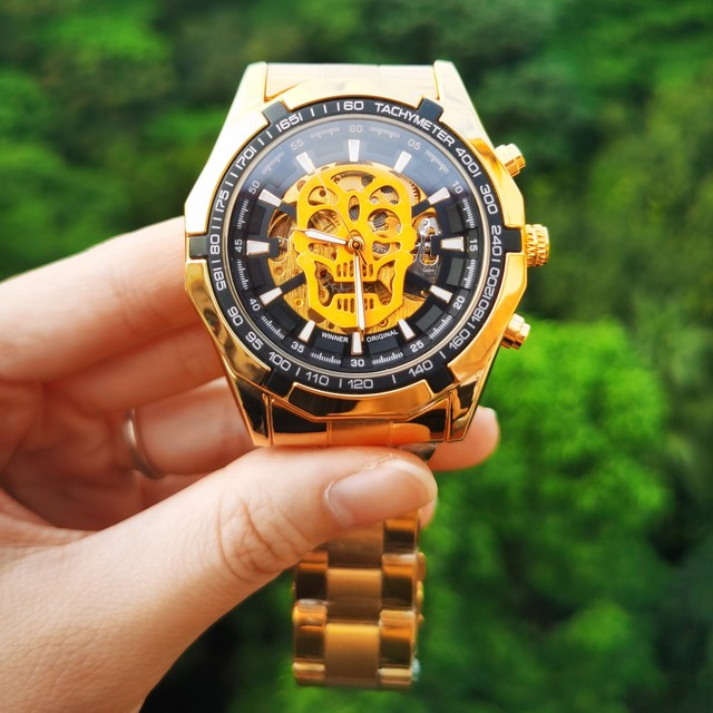 WINNER Official Automatic GOLD Watch Men Steel Strap Skeleton Mechanical Skull Watches Top Brand Luxury Dropshipping Wholesale 5