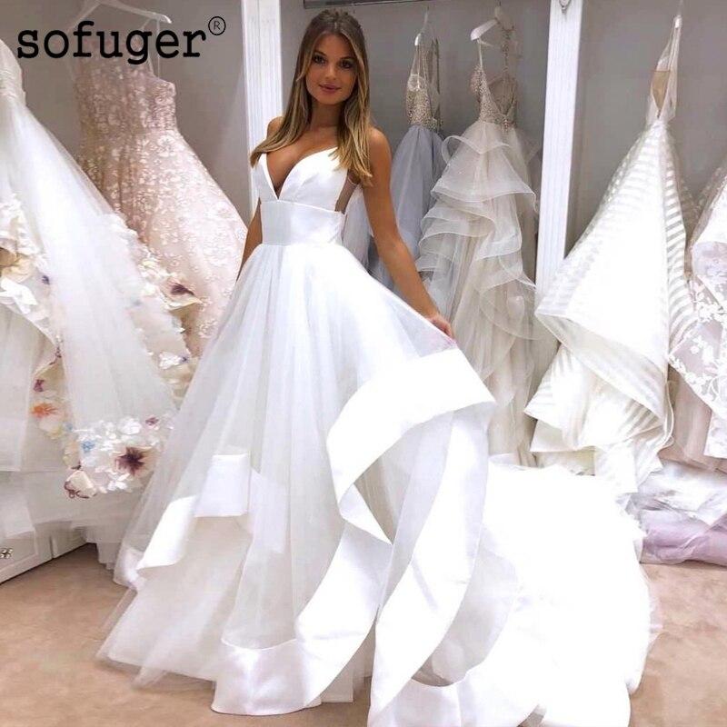 Simple blanc ivoire Tulle col en V Robe De mariée à plusieurs niveaux Robe De Mariee Sofuge Boho dubaï arabe Abiti Da Sposa
