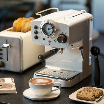 15 bar Espresso fabricante de máquinas Espresso estilo Retro semiautomático italiano vapor tipo leche espuma 2 y 1 mangos fácil de usar