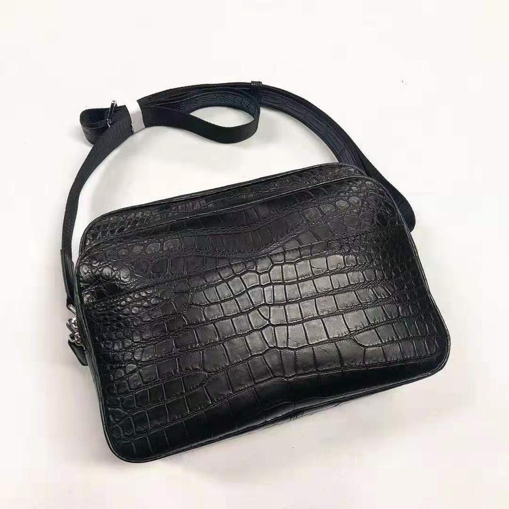 Newly Production  High End Fine Quality 100% Genuine Crocodile Leather Belly Skin Men Shoulder Cross Body Bag Medium Size Black