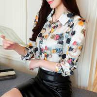 Womens tops e blusas flor impresso moda camisas de manga longa do vintage senhoras plus size 2020 listrado blusa feminina 680e6
