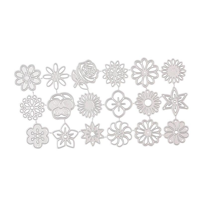 YaMinSanNiO 18 Pcs/lot Metal Cutting Dies Scrapbooking For Card Making DIY Embossing Cuts New Craft Dies Flowers Decoration