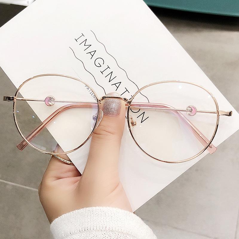 2021 Trends Office Anti Blue Light Oversized Glasses Computer Women Blue Blocking Gaming Big Size Moon Eyeglasses Alloy Frame