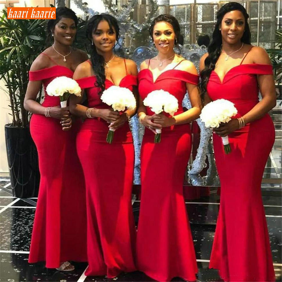 African Red Mermaid Bridesmaid Dresses Off Shoulder Floor Length Long Wedding Party Gowns Spaghetti Straps Maid of Honor Dress