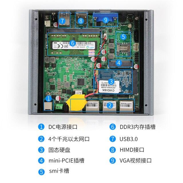 Fanless Soft Router Intel Celeron J3455 Quad Core Mini PC with VGA HD-MI 4 Intel Gigabit LAN for pfSense firewall AES-NI 3