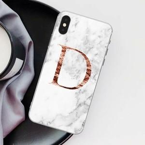 Image 5 - Lettre monogramme A B C D marbre blanc souple coque de téléphone pour iphone 5 S 5 SE 6 6s Plus 7 7plus 8 8plus XS Max XR