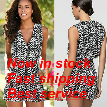 Woman Jumpsuit Playsuit Woman in Stripe Black and White Pattern Jumpsuit Casual Cocktail Deep V-Neck Sleeveless Summer Jumpsuit v neck overlay dot print design playsuit in white