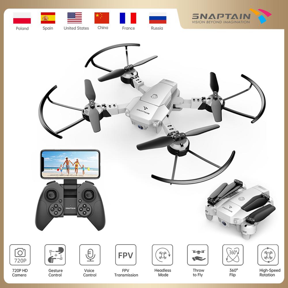 Quadcopter SNAPTAIN A10 Mini drone Foldable Drone 720P HD Camera FPV WiFi RC Voice Control Gesture Control3DFlipsChristmas gift|Camera Drones| - AliExpress