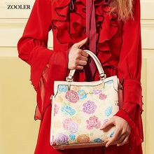 luxury&limited genuine leather bag woman handbags brands 2017 stylish embossing shoulder ZOOLER top cowhide #2951