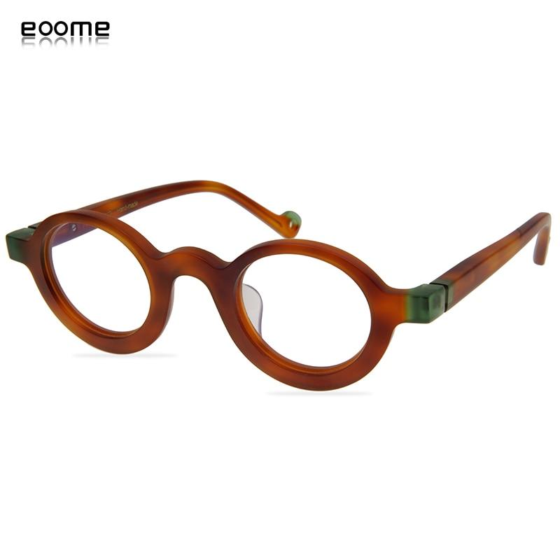 Eooem 2019 New Small Vintage Round Shape Hand Made Eyeglass Optical Frames Full Rim Acetate Retro Make Lens Super Light Frame