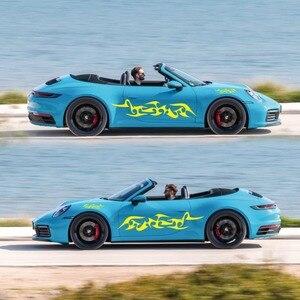 Image 3 - מכונית פס מדבקות צד גוף ארוך פס ויניל להבת מדבקות קישוט מדבקות לרכב מדבקות חדש