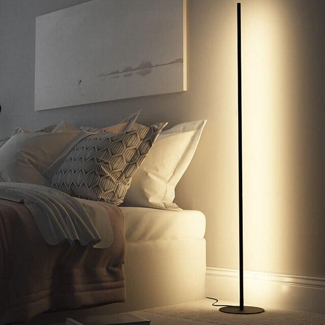 מודרני מינימליסטי LED מנורת רצפת נורדי עומד מנורות סלון שחור אלומיניום Luminaria Tripot מנורות Stand אור דקו סלון