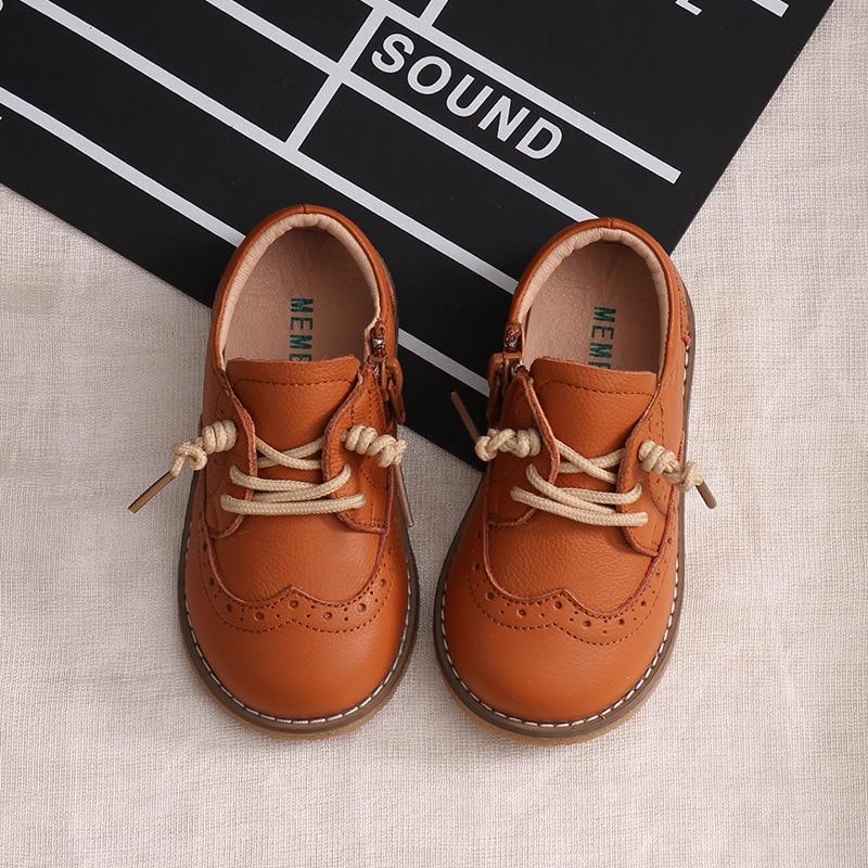 New Fall Children Genuine Leather Shoes Boys Girls Retro Single Shoes Baby Tendon Soft Bottom Anti-slip Full Cowhide Shoes