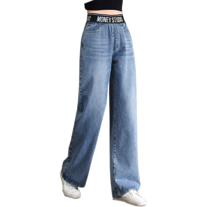 Spring Loose High Waist Wide Leg Jeans For Women Stretch Vintage Full-length Loose Boyfriend Pants Trousers Elastic High Waist