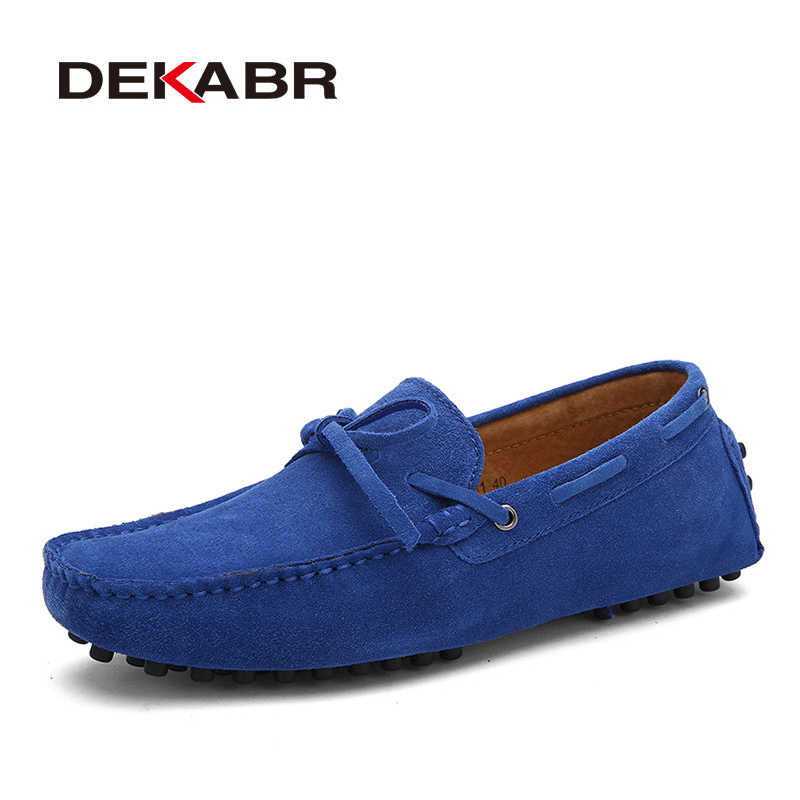 DEKABR Brand Big Size Cow Suede Leather Men Flats 2020 New Men Casual Shoes High Quality Men Loafers Moccasin Driving Shoes