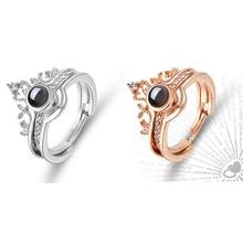 Creative 100 Languages Romantic Adjustable Zircon Engagement Ring Women Luxury Gem Wedding Ring Finger Ring Couple Jewelry Gift