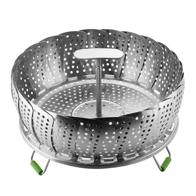 11 Inches Food Steamer Stainless Steel Folding Food Steamer Plate Magic Folding Steaming Fruit Plate Disk Multifunctional