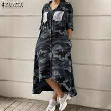 Frauen Mode Midi Hemd Kleid Weibliche Pailletten Taschen Vestido Casual-Taste Unten Kleider ZANZEA Retro Camouflage Print Robe 5XL