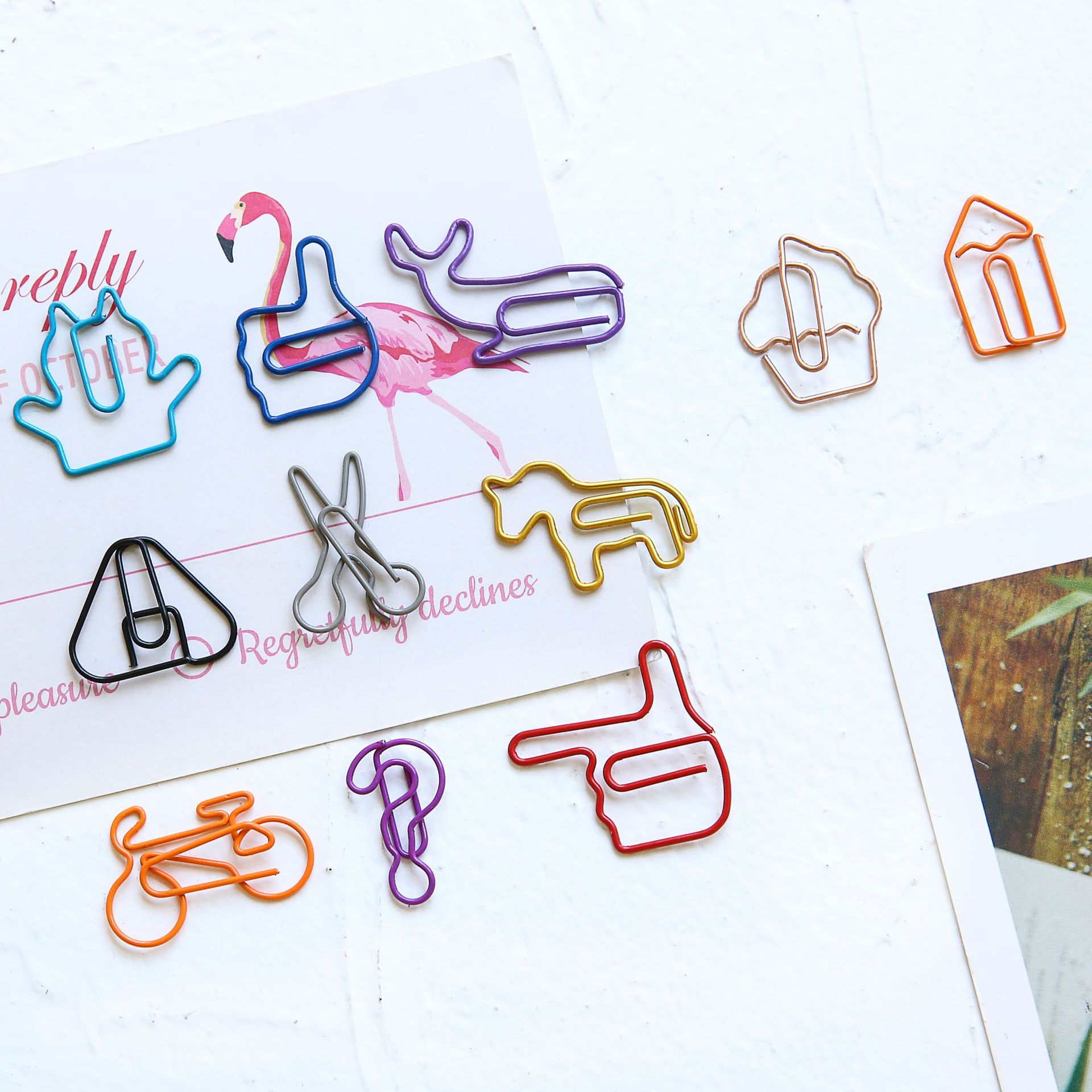 18pcs/lot Cute Aminal Bookmark Planner Rose Gold Office Mini Stationery Creative Paper Clips Binder Clips Decorative