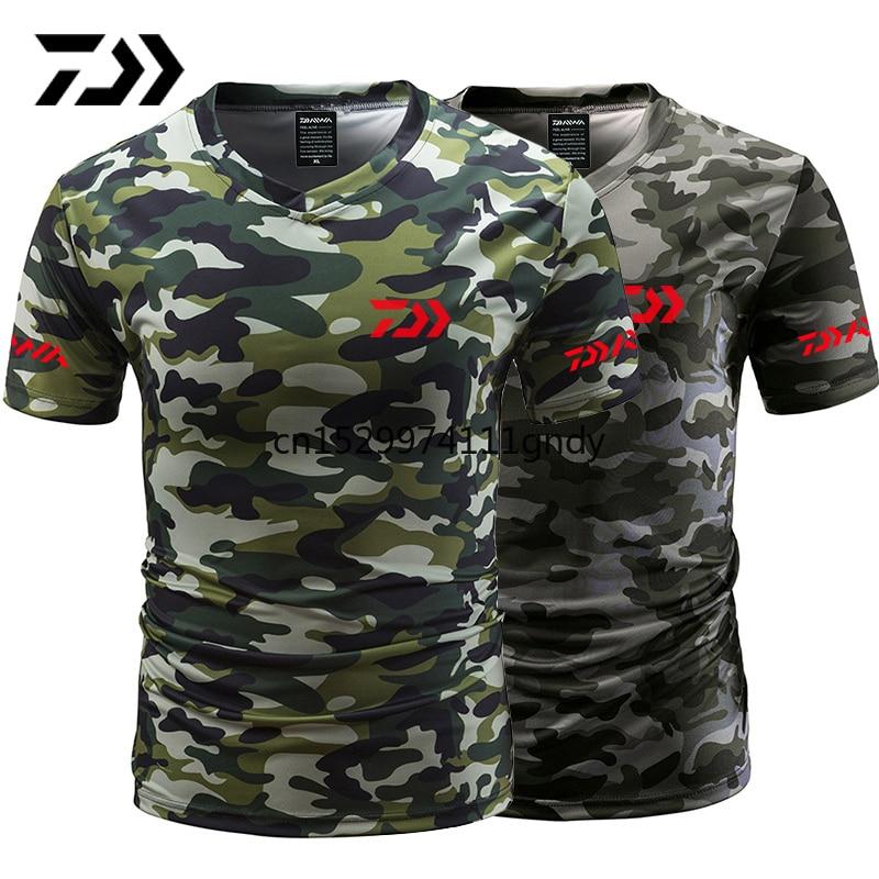 Daiwa Fishing Tshirt Summer Anti-sweat V Neck Camouflage Green Fishing T-shirt Sports Wear Breathable Quick Dry Fishing Clothing