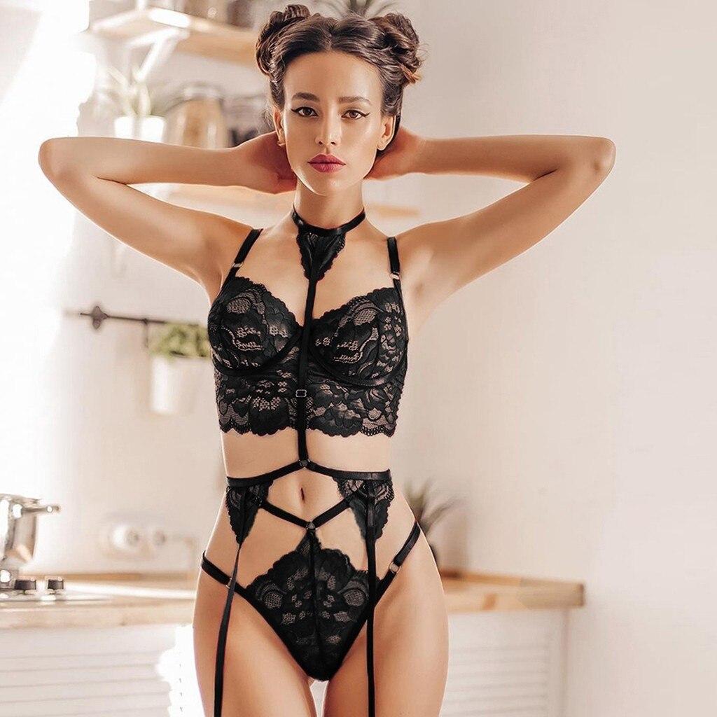Transparent Women Lingerie Set Stripper Clothes Sexy Sleepwear Exotic Apparel Underwear Sex Love Lace Costumes Plus Size XXXL