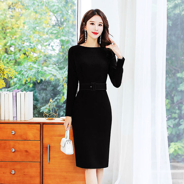 Office Lady Solid O-Neck Bodycon Dress Women Plus Size 4XL Elegant Slim Belt Long Sleeve Party Dress Retro Chic Back Split Dress 5