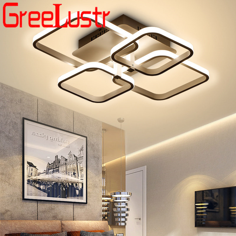 Modern LED Chandeliers Lighting With Remote White Coffee Acrylic Ceiling Chandelier Lamp Home Decor Lustres Light Fixture