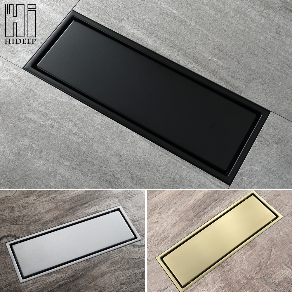 30x11cm Stainless Steel Linear Floor Drain Bathroom Shower Toilet Anti-odor Drains Tile Insert Black/Brushed/Brushed Gold HIDEEP