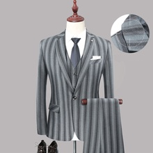 New British Style Classic Stripe Men Suit Slim Fit Casual Blazer Wedding Prom Dinner 3pcs High Guality Tuxedo Suits