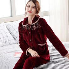 Autumn Winter Warm Pajamas Sets For Women Thick Flannel Cora