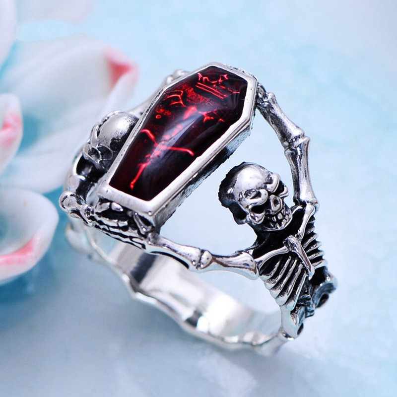 Fashion Unisex Red Vintage Epoxy Coffin Ring Wedding Rings Punk Style For Women Bridal Fine Jewelry Engagement Accessories