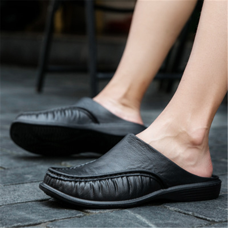Big Size 40-47 New Summer Thick Bottom PU Leather Beach Slippers Men's Comfortable Breathable Light Shoes Male Round Toe Slides