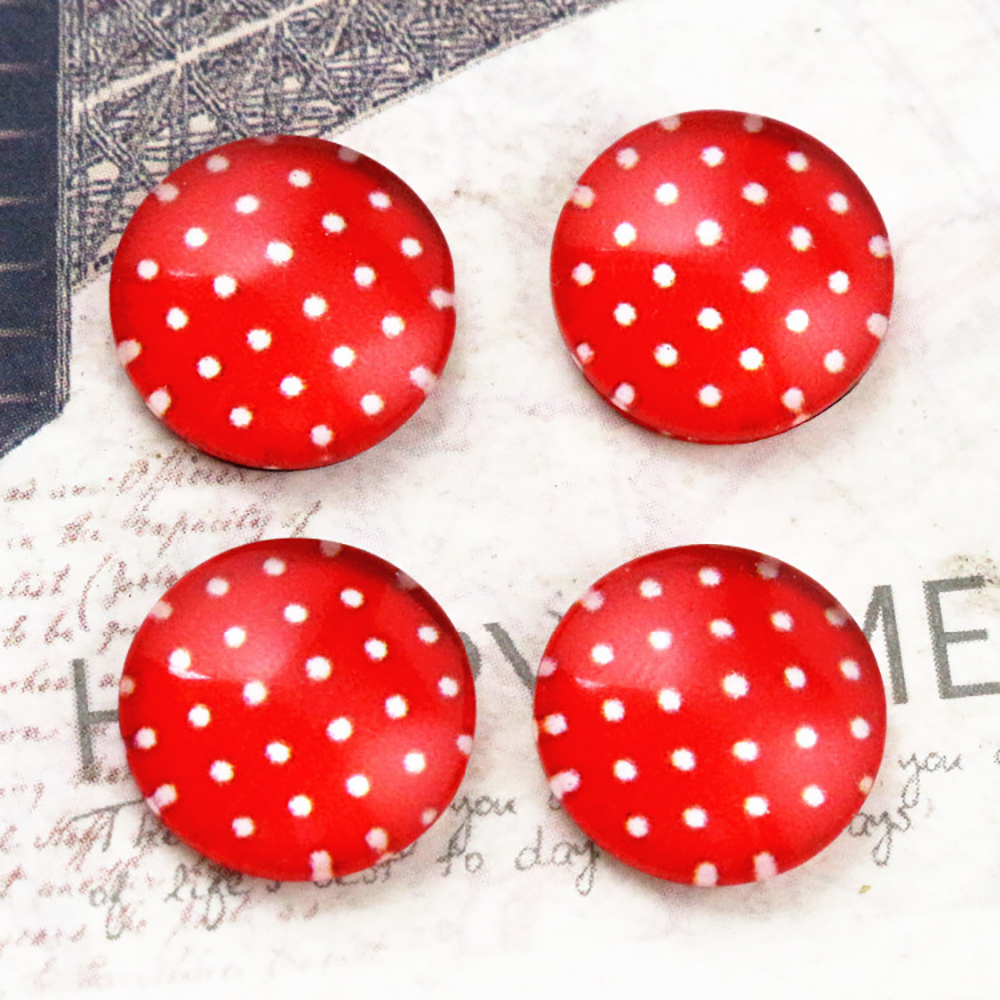 New Fashion  20pcs 12mm Handmade Red Point Photo Glass Cabochons   E4-67