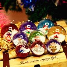 1 шт./пакет Рождество пластиковый прозрачный шар рождественские подарки для детей игрушки Рождественская елка Декор Санта-Клаус Снеговик шар украшения