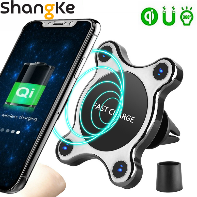 QI Wireless Car Charger Magnetic Quick Phone Mount Ultra Fast Qi Charging Pad Air Vent Mount  Charging Cradle For iPhone Samsung-in Wireless Chargers from Cellphones & Telecommunications