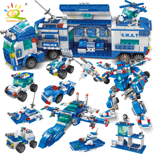 HUIQIBAO 700PCS 8in1City Police Command Trucks Building Blocks Policeman Robot Car Helicopter Model Bricks Toys for Children