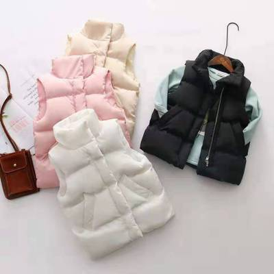 Autumn And Winter 4-9 Years Old Children's Vest Jacket New Boys And Girls Baby Warm Stand Collar Fashion Thick Shoulder Wear