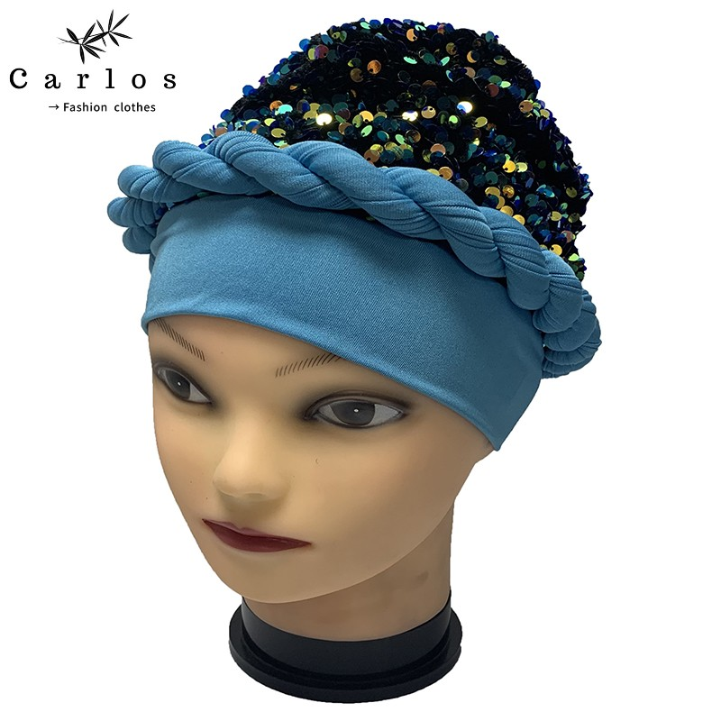 2021 Newest Elegant Sequined Turban Hats Women Cap Beaded For India Hat Scarfs Head Wrap Headband Girl Hair Accessories Lady