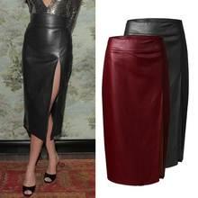女性のスカートcelmiaエレガントなpuレザースカートのセクシーなハイウエストスプリットボディコンスカートカジュアル固体オフィスシースミディスカート女性