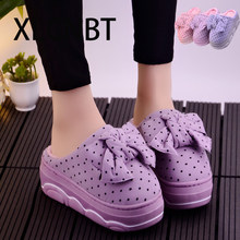 dot slipoper Women Winter Home Slippers Cartoon Shoes Soft Winter Warm House Slippers Indoor Bedroom shoes sweet girls high heel platform(China)