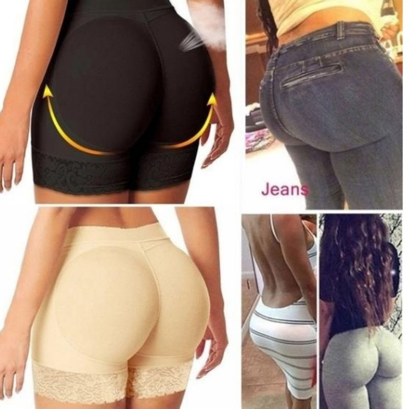 Womens Breathable Mesh Mid Rise Butt Lifter Underwear Seamless Floral Lace Trim Padded Panties Hip Enhancer Body Shaper Boyshort