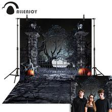 Allenjoy photography backdrops Scary Halloween Background Pumpkin Door Zombie Night Background Photographic studio background allenjoy photographic background european royal family living room backdrops princess boy studio fabric 7x5ft