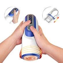 Автоматический телескопический Мужской мастурбатор настраиваемый нагреваемый пенильный массажер реальный киска насос вибратор, секс-машина секс-игрушки для мужчин