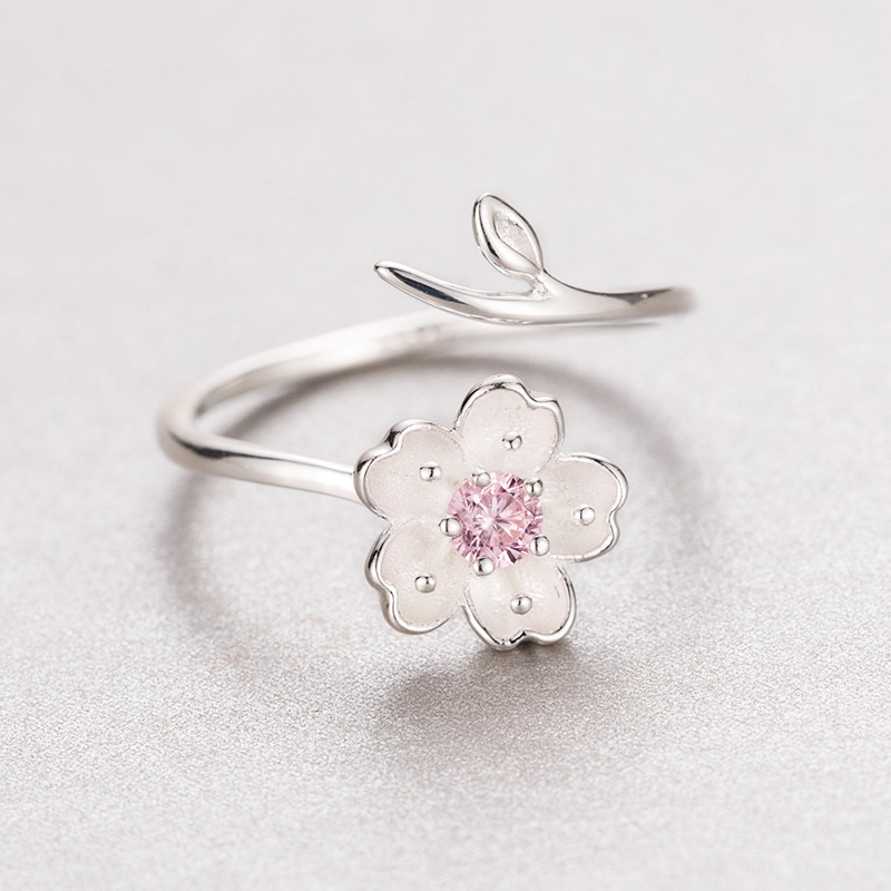 Anillo ajustable de color plata Sakura Flower Cherry Blossoms Pink - Bisutería