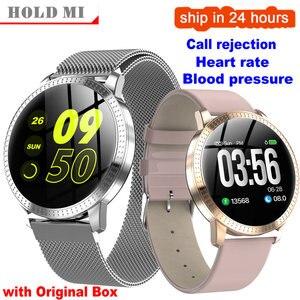 Image 1 - Cf18 1.22 Polegada relógio inteligente à prova dip67 água ip67 pressão arterial monitor de freqüência cardíaca metal starp multi modos esporte smartwatch feminino banda