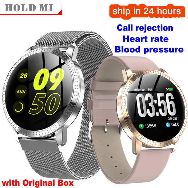 Cf18 1.22 Polegada relógio inteligente à prova dip67 água ip67 pressão arterial monitor de freqüência cardíaca metal starp multi modos esporte smartwatch feminino banda