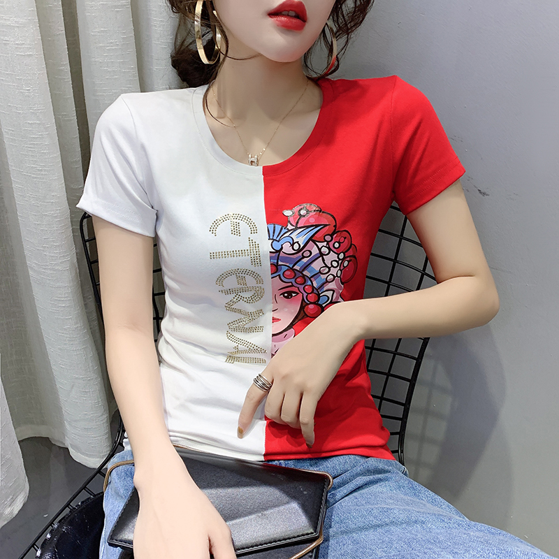 New Spring Summer Clothes Sexy Patchwork Contrast Color Diamonds T-shirt Women Tops Ropa Mujer Shiny Bottoming Shirt Tees T02801